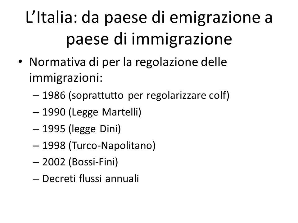 LItalia: da paese di emigrazione a paese di immigrazione Normativa di per la regolazione delle immigrazioni: – 1986 (soprattutto per regolarizzare col