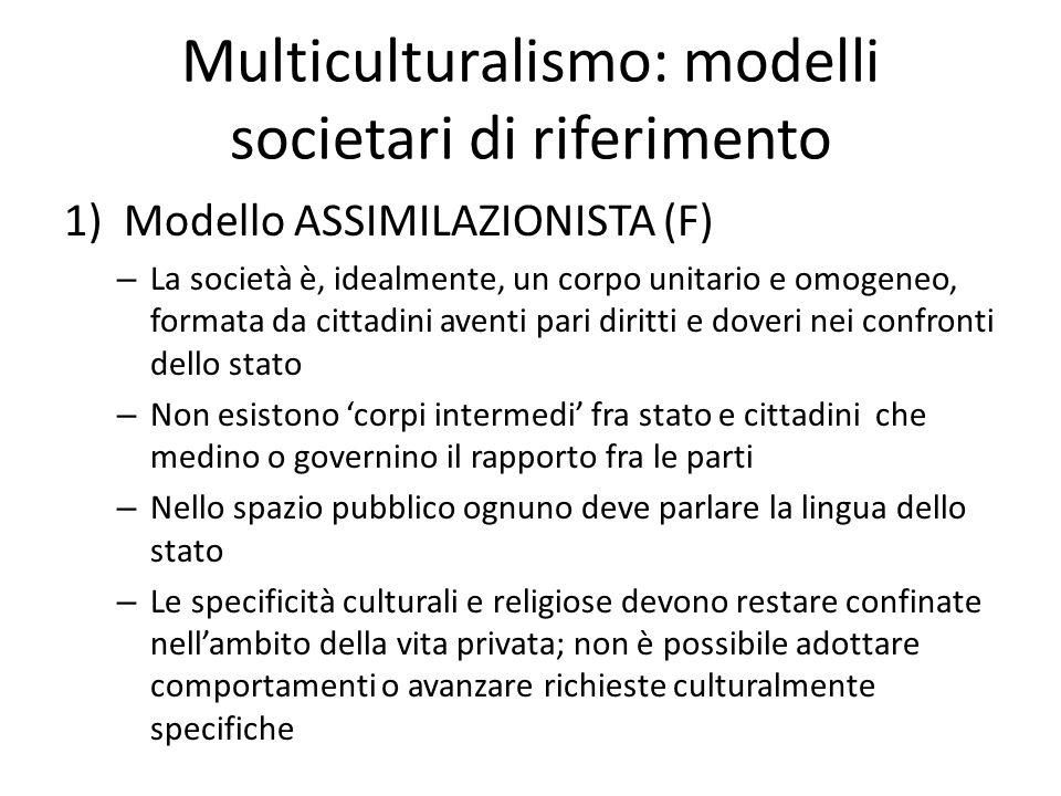 Multiculturalismo: modelli societari di riferimento 1)Modello ASSIMILAZIONISTA (F) – La società è, idealmente, un corpo unitario e omogeneo, formata d