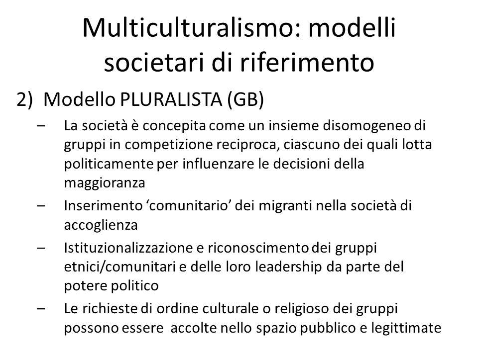 Multiculturalismo: modelli societari di riferimento 2)Modello PLURALISTA (GB) –La società è concepita come un insieme disomogeneo di gruppi in competi