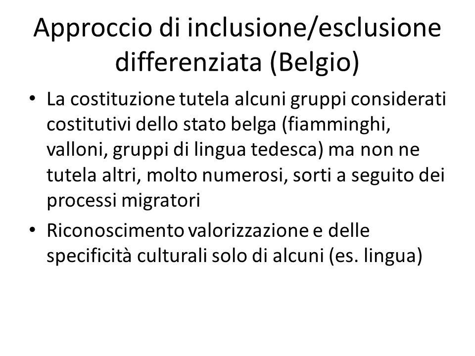 Approccio di inclusione/esclusione differenziata (Belgio) La costituzione tutela alcuni gruppi considerati costitutivi dello stato belga (fiamminghi,