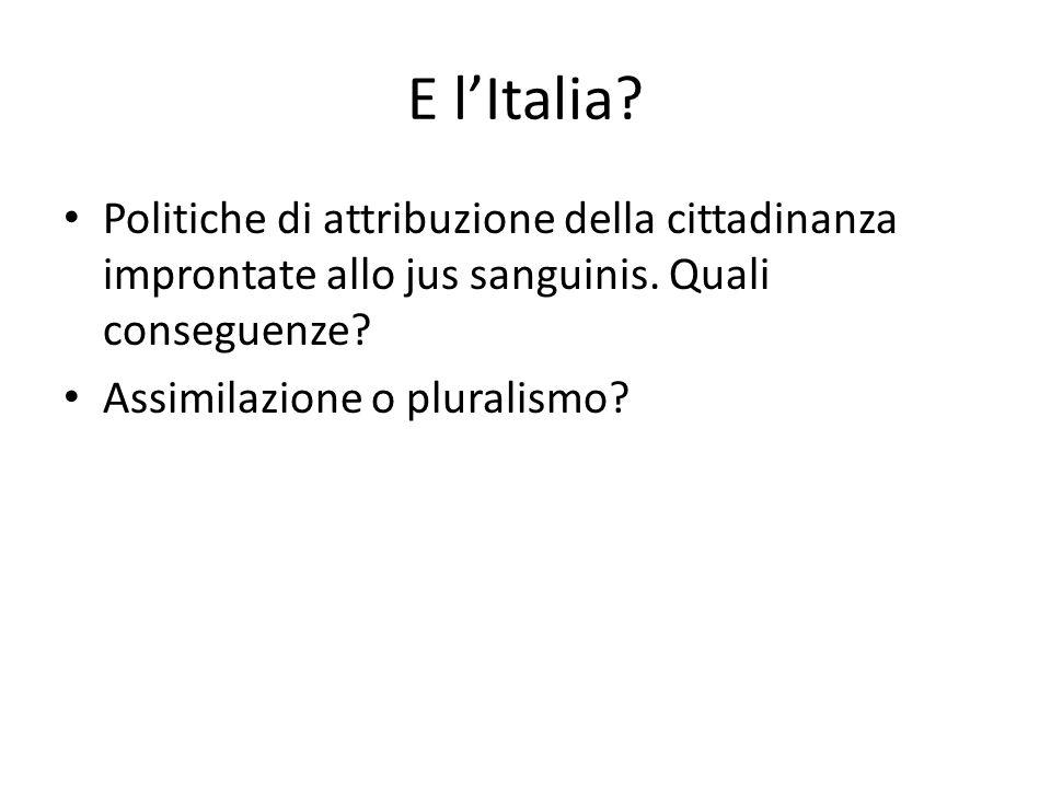 E lItalia? Politiche di attribuzione della cittadinanza improntate allo jus sanguinis. Quali conseguenze? Assimilazione o pluralismo?