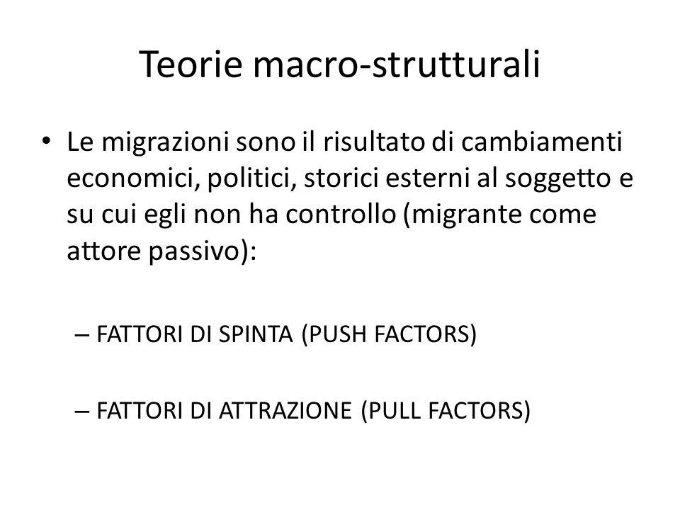 Teorie macro-strutturali Le migrazioni sono il risultato di cambiamenti economici, politici, storici esterni al soggetto e su cui egli non ha controll