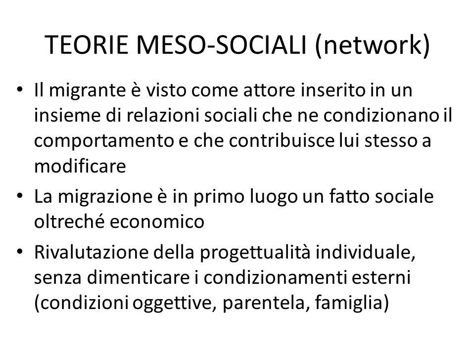 TEORIE MESO-SOCIALI (network) Il migrante è visto come attore inserito in un insieme di relazioni sociali che ne condizionano il comportamento e che c