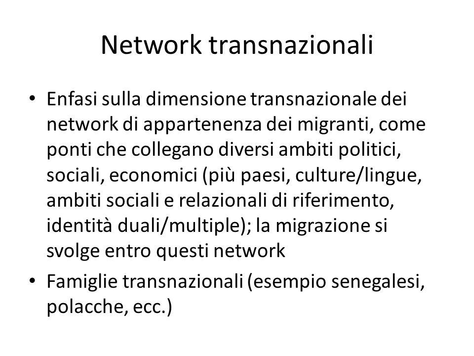 Network transnazionali Enfasi sulla dimensione transnazionale dei network di appartenenza dei migranti, come ponti che collegano diversi ambiti politi