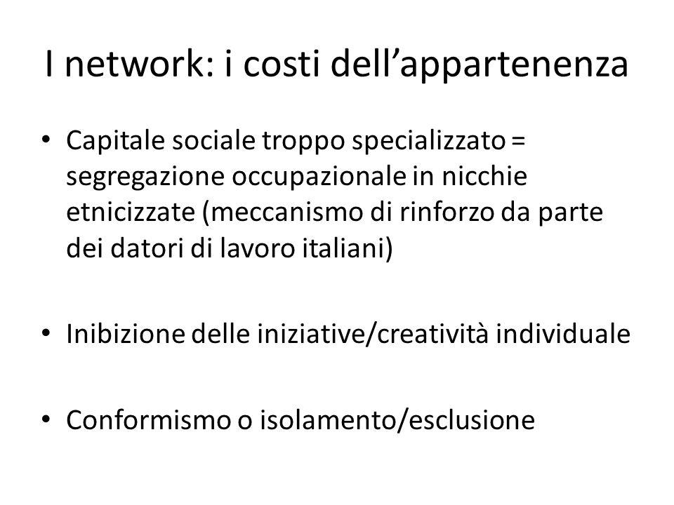 I network: i costi dellappartenenza Capitale sociale troppo specializzato = segregazione occupazionale in nicchie etnicizzate (meccanismo di rinforzo
