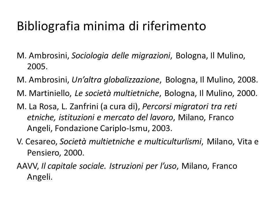 Bibliografia minima di riferimento M. Ambrosini, Sociologia delle migrazioni, Bologna, Il Mulino, 2005. M. Ambrosini, Unaltra globalizzazione, Bologna