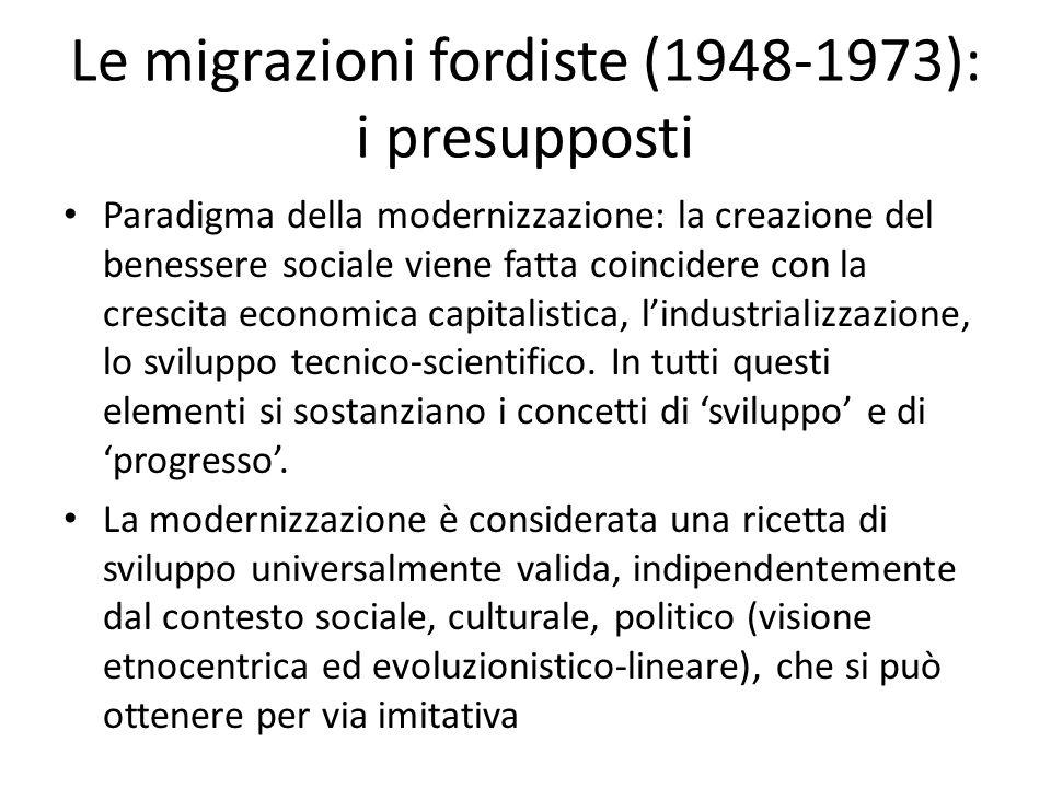 Le migrazioni fordiste (1948-1973): i presupposti Paradigma della modernizzazione: la creazione del benessere sociale viene fatta coincidere con la cr