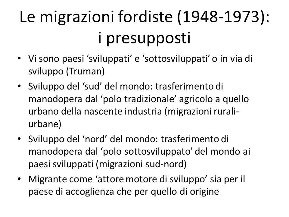Le migrazioni fordiste (1948-1973): i presupposti Vi sono paesi sviluppati e sottosviluppati o in via di sviluppo (Truman) Sviluppo del sud del mondo: