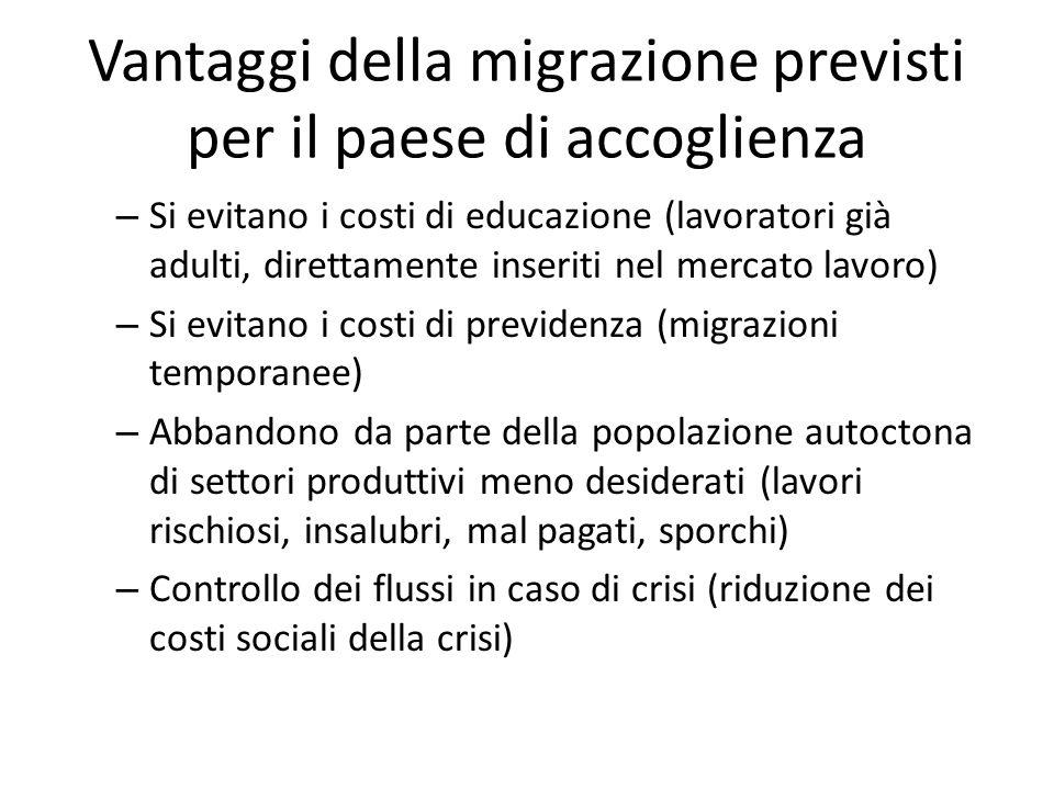 Vantaggi della migrazione previsti per il paese di accoglienza – Si evitano i costi di educazione (lavoratori già adulti, direttamente inseriti nel me