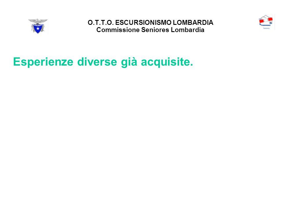 O.T.T.O. ESCURSIONISMO LOMBARDIA Commissione Seniores Lombardia Esperienze diverse già acquisite.