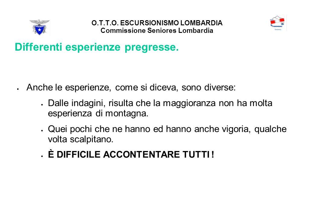 O.T.T.O. ESCURSIONISMO LOMBARDIA Commissione Seniores Lombardia Differenti esperienze pregresse.