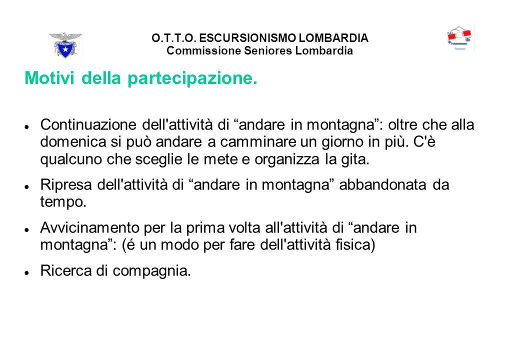 O.T.T.O. ESCURSIONISMO LOMBARDIA Commissione Seniores Lombardia Motivi della partecipazione.