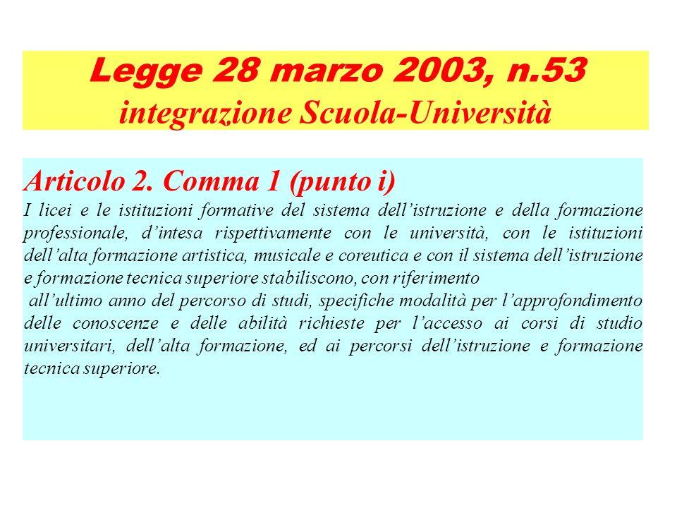 Articolo 2. Comma 1 (punto i) I licei e le istituzioni formative del sistema dellistruzione e della formazione professionale, dintesa rispettivamente