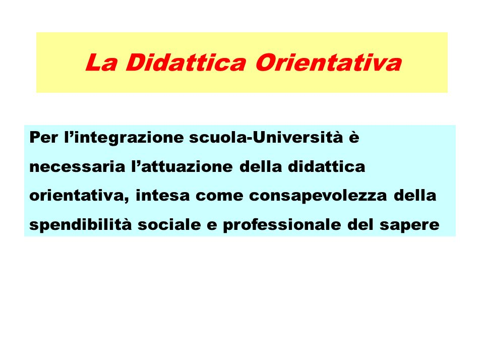 La Didattica Orientativa Per lintegrazione scuola-Università è necessaria lattuazione della didattica orientativa, intesa come consapevolezza della spendibilità sociale e professionale del sapere