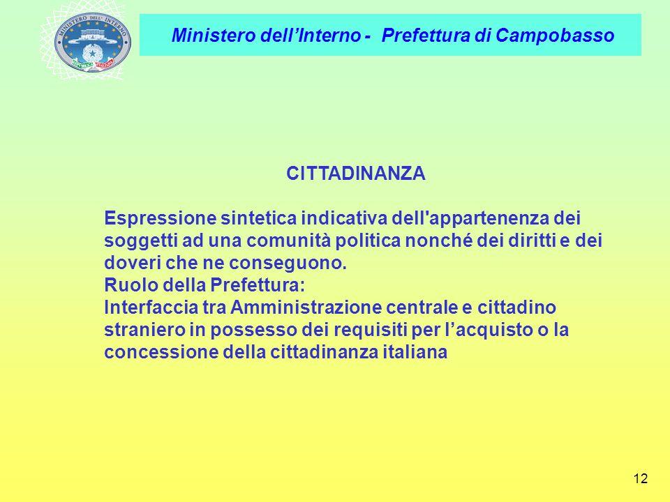 Ministero dellInterno - Prefettura di Campobasso 12 CITTADINANZA Espressione sintetica indicativa dell'appartenenza dei soggetti ad una comunità polit