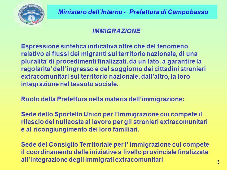 Ministero dellInterno - Prefettura di Campobasso 3 IMMIGRAZIONE Espressione sintetica indicativa oltre che del fenomeno relativo ai flussi dei migrant