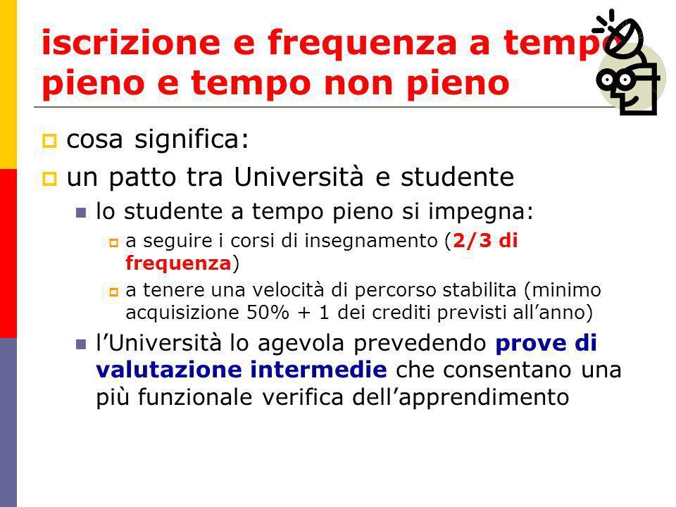 iscrizione e frequenza a tempo pieno e tempo non pieno cosa significa: un patto tra Università e studente lo studente a tempo pieno si impegna: a segu