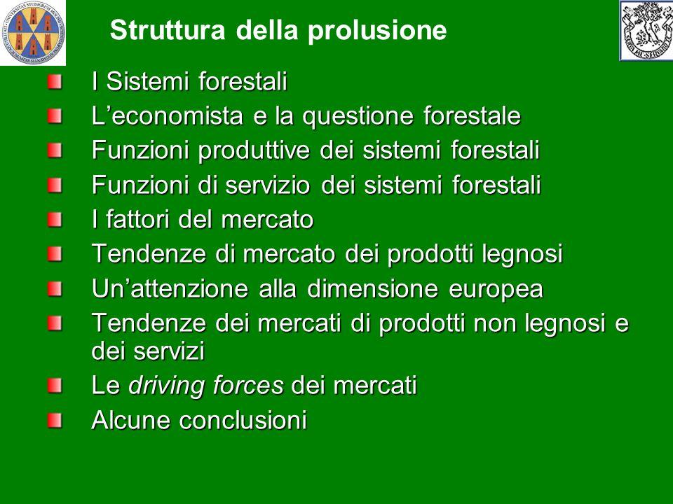 I Sistemi forestali Leconomista e la questione forestale Funzioni produttive dei sistemi forestali Funzioni di servizio dei sistemi forestali I fattor