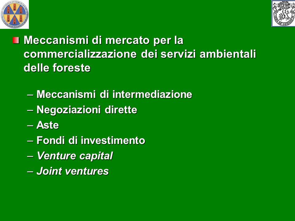 Meccanismi di mercato per la commercializzazione dei servizi ambientali delle foreste –Meccanismi di intermediazione –Negoziazioni dirette –Aste –Fond