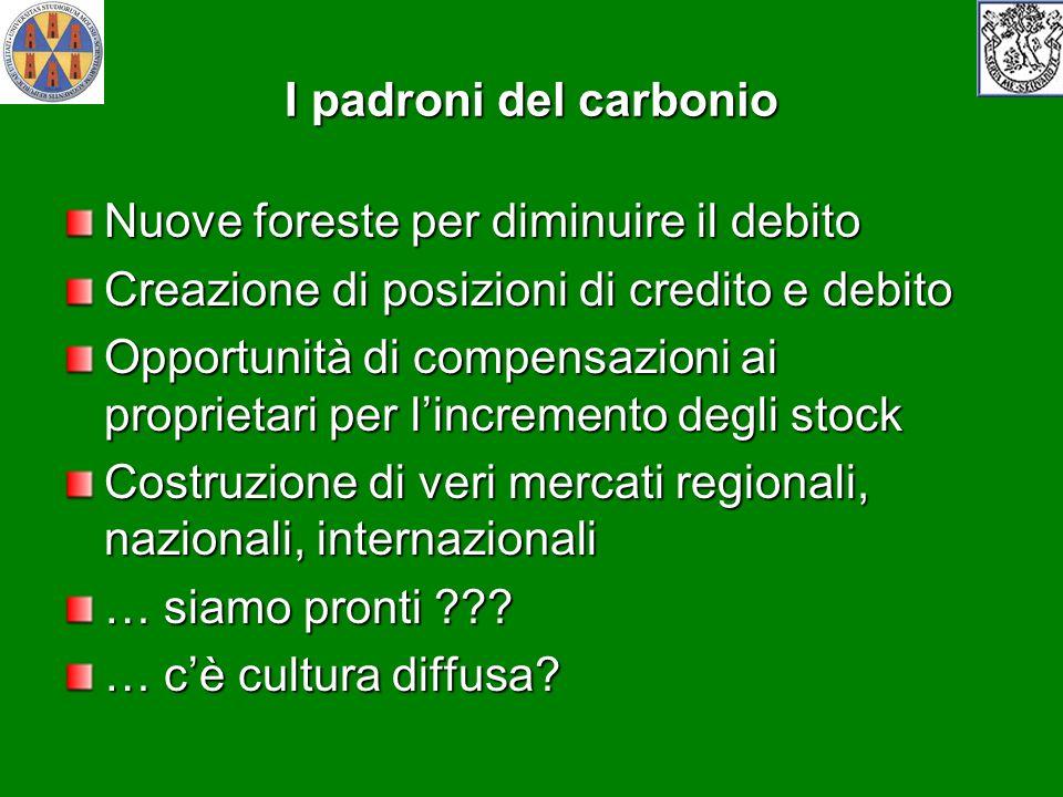 I padroni del carbonio Nuove foreste per diminuire il debito Creazione di posizioni di credito e debito Opportunità di compensazioni ai proprietari pe