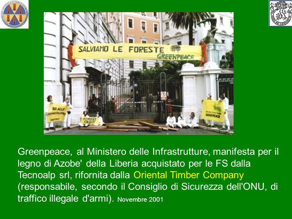 Greenpeace, al Ministero delle Infrastrutture, manifesta per il legno di Azobe' della Liberia acquistato per le FS dalla Tecnoalp srl, rifornita dalla