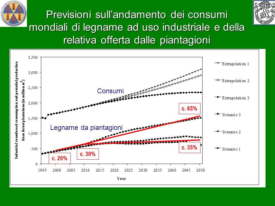 Previsioni sullandamento dei consumi mondiali di legname ad uso industriale e della relativa offerta dalle piantagioni c. 20% c. 30% c. 35% c. 65% Con