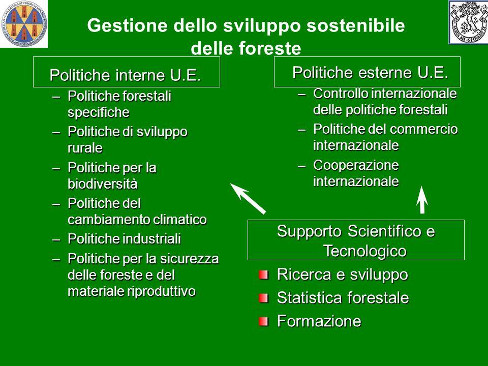 Politiche interne U.E. –Politiche forestali specifiche –Politiche di sviluppo rurale –Politiche per la biodiversità –Politiche del cambiamento climati