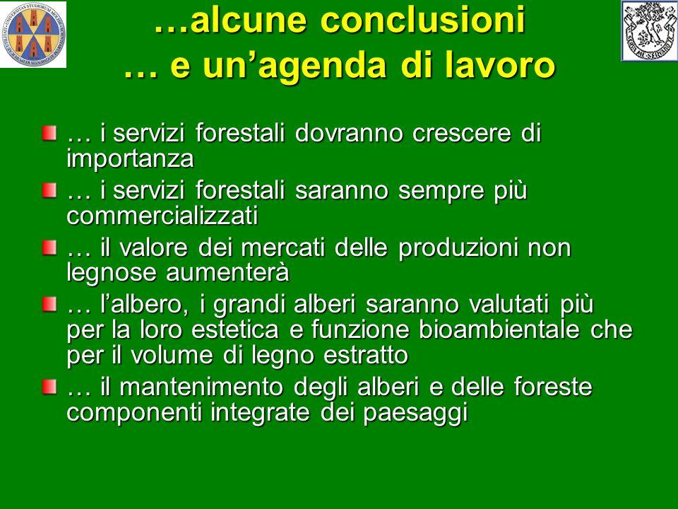 …alcune conclusioni … e unagenda di lavoro … i servizi forestali dovranno crescere di importanza … i servizi forestali saranno sempre più commercializ