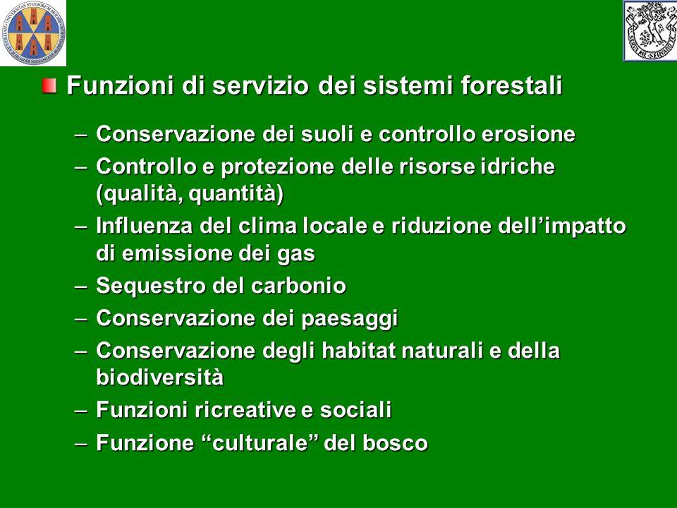Funzioni di servizio dei sistemi forestali –Conservazione dei suoli e controllo erosione –Controllo e protezione delle risorse idriche (qualità, quant