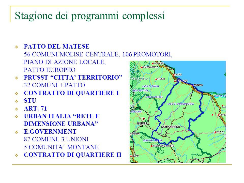 Stagione dei programmi complessi PATTO DEL MATESE 56 COMUNI MOLISE CENTRALE, 106 PROMOTORI, PIANO DI AZIONE LOCALE, PATTO EUROPEO PRUSST CITTA TERRITORIO 32 COMUNI + PATTO CONTRATTO DI QUARTIERE I STU ART.