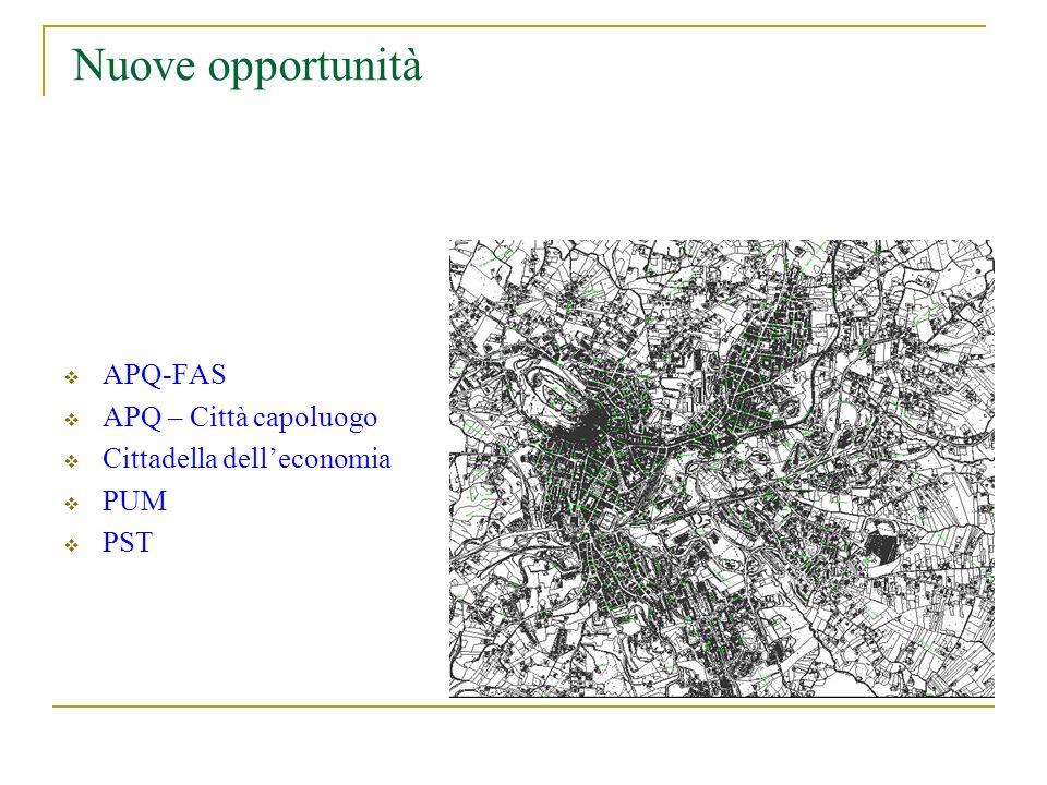 Nuove opportunità APQ-FAS APQ – Città capoluogo Cittadella delleconomia PUM PST