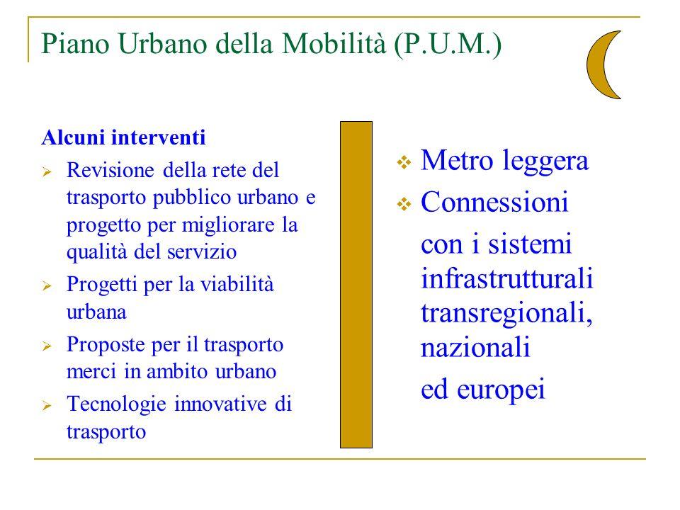 Piano Urbano della Mobilità (P.U.M.) Alcuni interventi Revisione della rete del trasporto pubblico urbano e progetto per migliorare la qualità del servizio Progetti per la viabilità urbana Proposte per il trasporto merci in ambito urbano Tecnologie innovative di trasporto Metro leggera Connessioni con i sistemi infrastrutturali transregionali, nazionali ed europei
