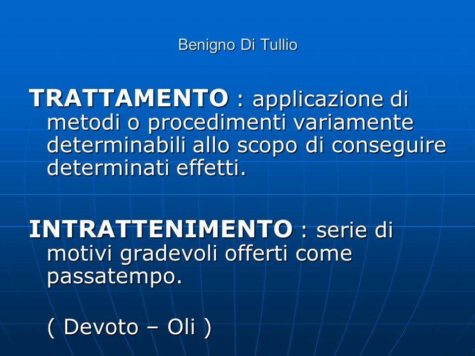 Benigno Di Tullio TRATTAMENTO : applicazione di metodi o procedimenti variamente determinabili allo scopo di conseguire determinati effetti. INTRATTEN