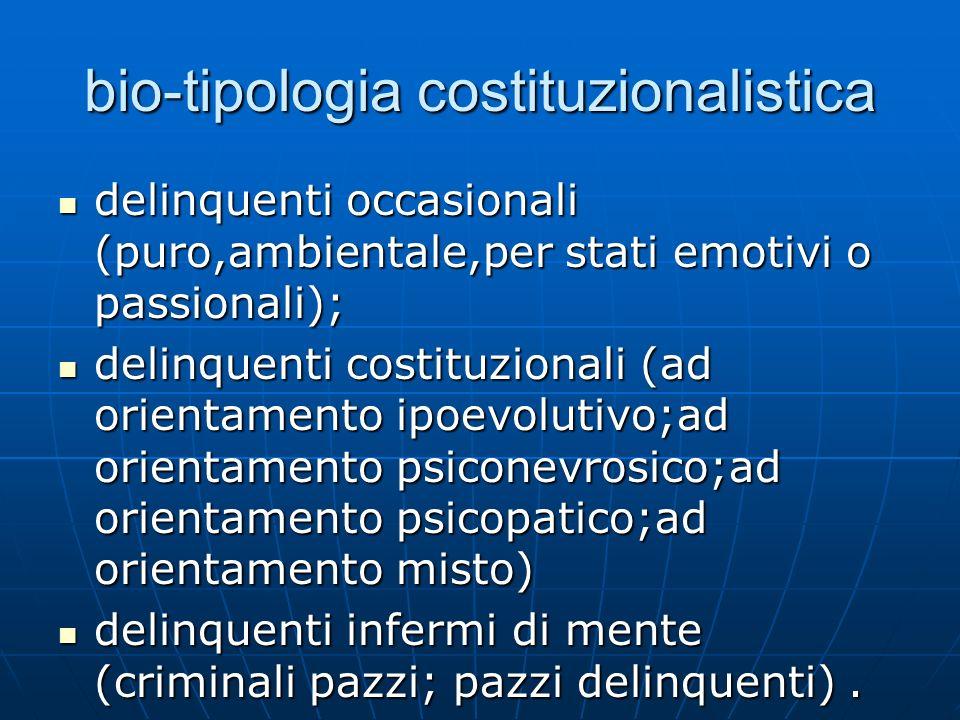 bio-tipologia costituzionalistica delinquenti occasionali (puro,ambientale,per stati emotivi o passionali); delinquenti occasionali (puro,ambientale,p