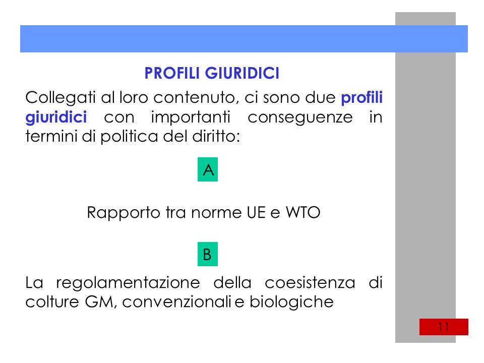 PROFILI GIURIDICI Collegati al loro contenuto, ci sono due profili giuridici con importanti conseguenze in termini di politica del diritto: Rapporto tra norme UE e WTO La regolamentazione della coesistenza di colture GM, convenzionali e biologiche A B 11