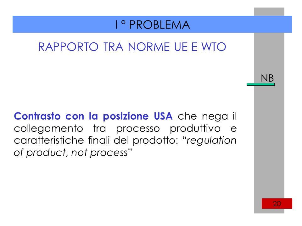 I ° PROBLEMA 20 RAPPORTO TRA NORME UE E WTO Contrasto con la posizione USA che nega il collegamento tra processo produttivo e caratteristiche finali del prodotto: regulation of product, not process NB