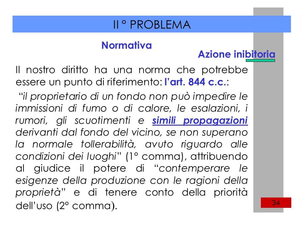 II ° PROBLEMA 34 Il nostro diritto ha una norma che potrebbe essere un punto di riferimento: lart.
