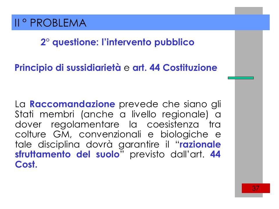 II ° PROBLEMA 37 Principio di sussidiarietà e art.