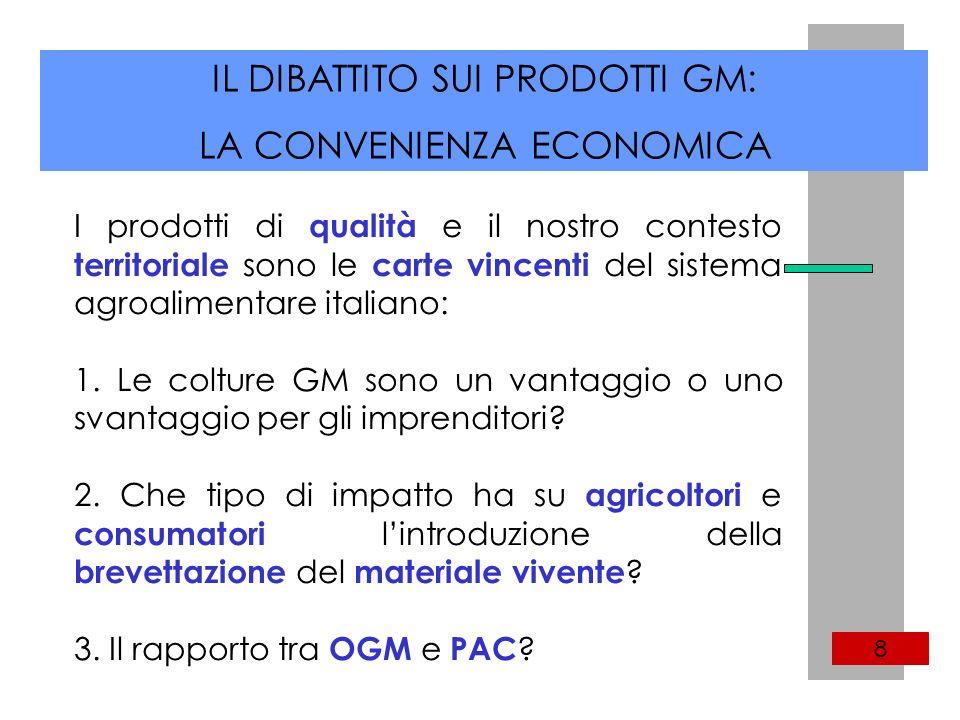 IL DIBATTITO SUI PRODOTTI GM: LA CONVENIENZA ECONOMICA 8 I prodotti di qualità e il nostro contesto territoriale sono le carte vincenti del sistema agroalimentare italiano: 1.