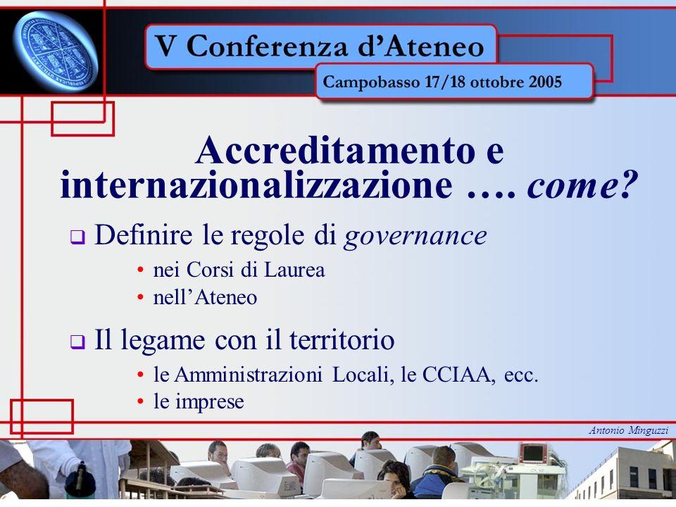 Accreditamento e internazionalizzazione …. come? Definire le regole di governance nei Corsi di Laurea nellAteneo Il legame con il territorio le Ammini