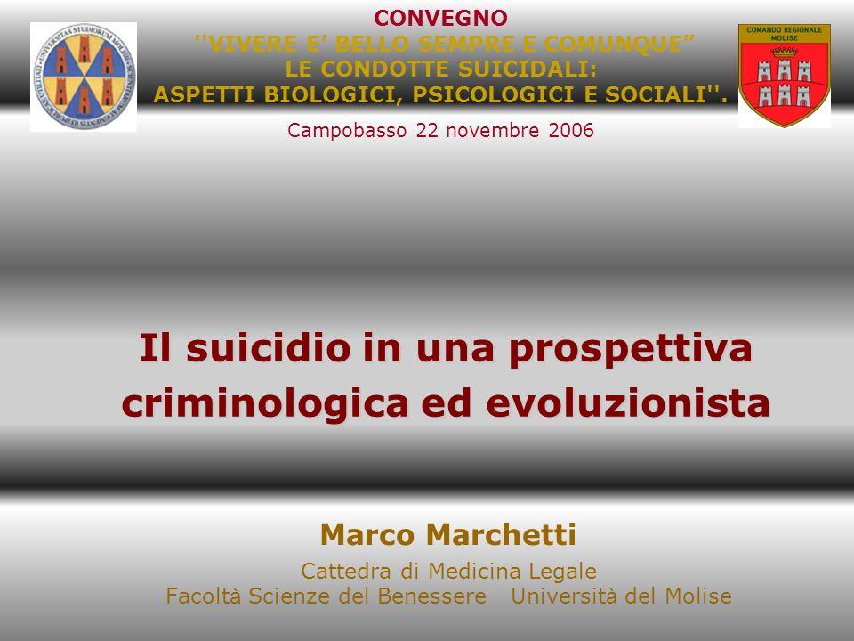 Il suicidio in una prospettiva criminologica ed evoluzionista Marco Marchetti Cattedra di Medicina Legale Facolt à Scienze del Benessere Universit à d