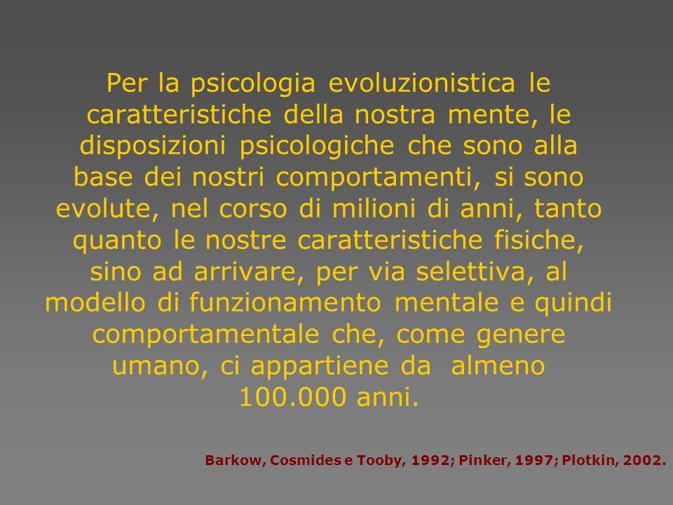 Per la psicologia evoluzionistica le caratteristiche della nostra mente, le disposizioni psicologiche che sono alla base dei nostri comportamenti, si