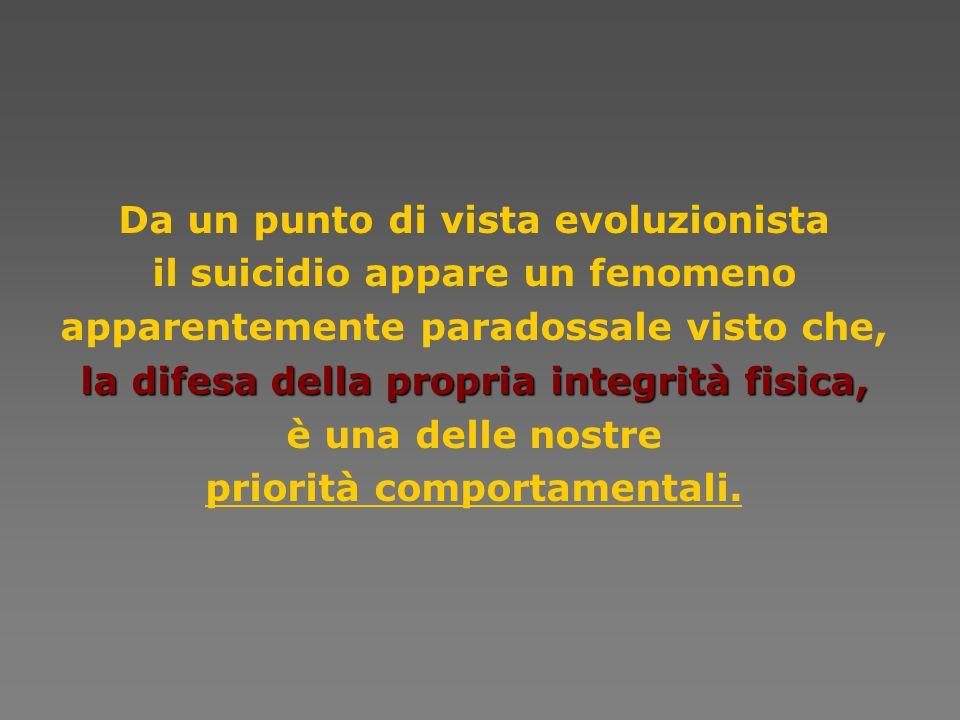 Da un punto di vista evoluzionista il suicidio appare un fenomeno apparentemente paradossale visto che, la difesa della propriaintegrità fisica, la di
