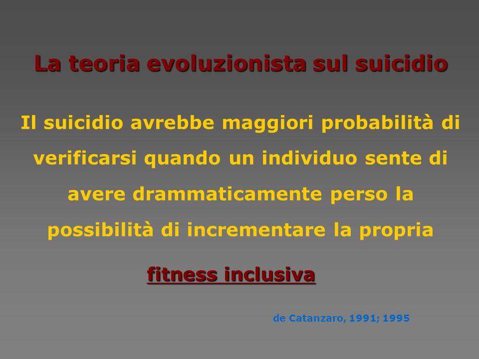La teoria evoluzionista sul suicidio Il suicidio avrebbe maggiori probabilità di verificarsi quando un individuo sente di avere drammaticamente perso