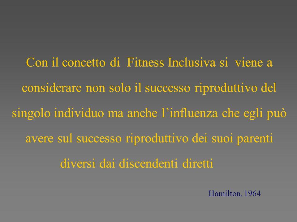 Con il concetto di Fitness Inclusiva si viene a considerare non solo il successo riproduttivo del singolo individuo ma anche linfluenza che egli può a