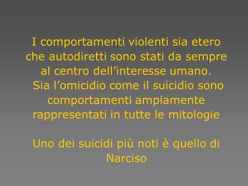 Violence and Healt 815.000 per suicidio Come segnala il primo rapporto Violence and Healt dellO.M.S nel 2000 le morti dovute ad una causa violenta ammontavano, nel mondo, a circa un milione e seicentocinquantamila.