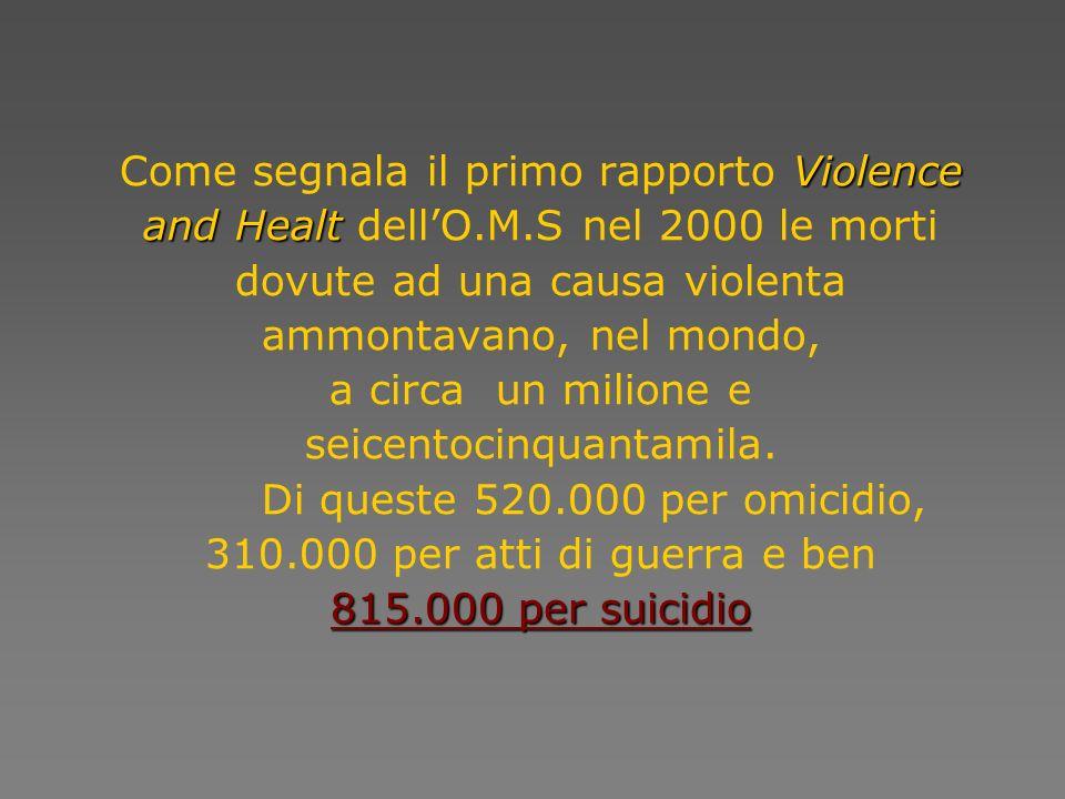 Violence and Healt 815.000 per suicidio Come segnala il primo rapporto Violence and Healt dellO.M.S nel 2000 le morti dovute ad una causa violenta amm