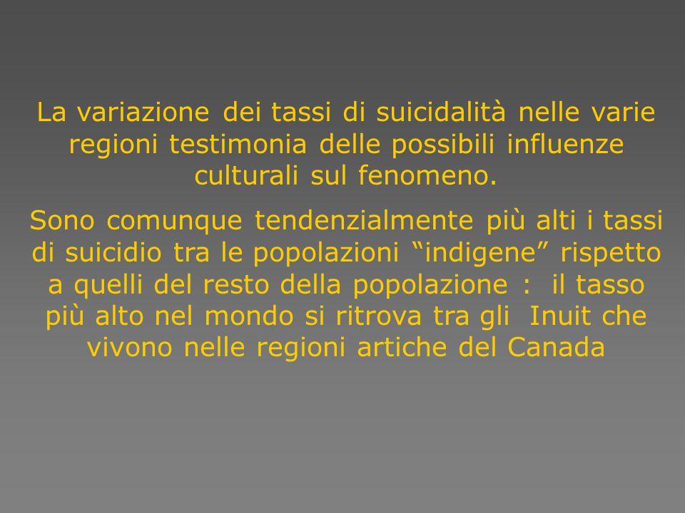 La variazione dei tassi di suicidalità nelle varie regioni testimonia delle possibili influenze culturali sul fenomeno. Sono comunque tendenzialmente