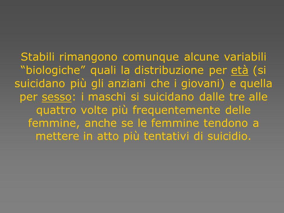 Nella classe detà compresa tra i 15 e i 44 anni il suicidio è la quarta causa di morte ed è la sesta causa di disabilità e di malattia e di disabilità.