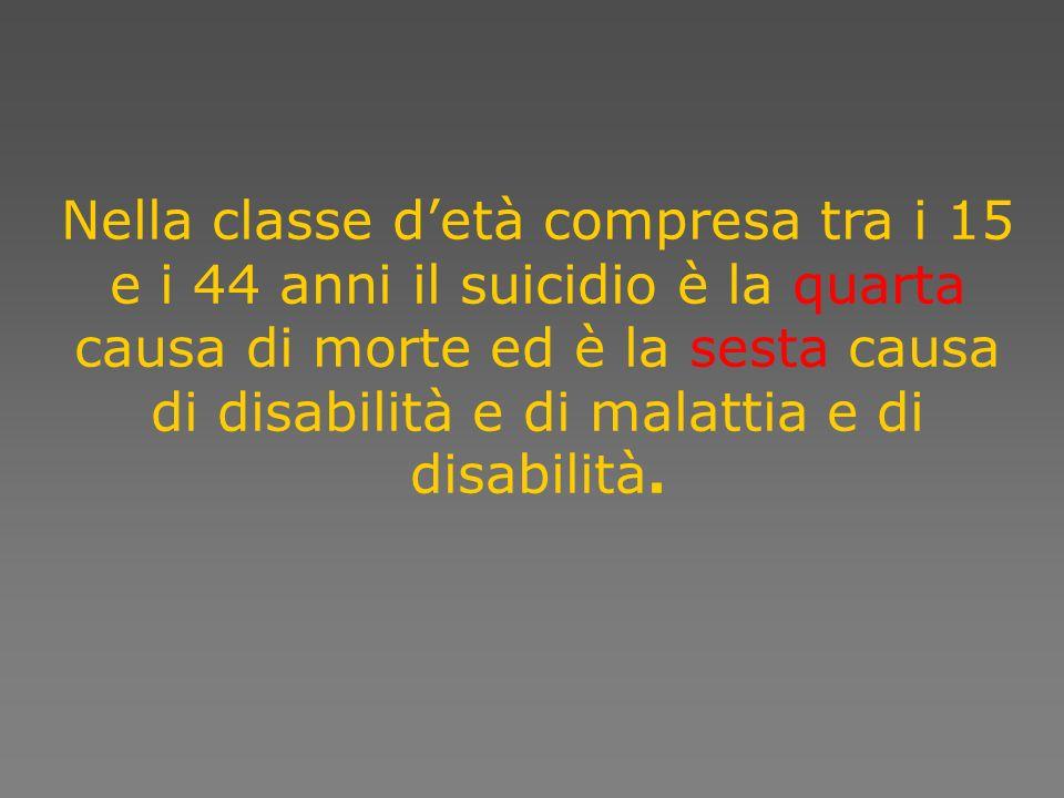 Nella classe detà compresa tra i 15 e i 44 anni il suicidio è la quarta causa di morte ed è la sesta causa di disabilità e di malattia e di disabilità